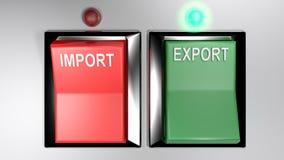 IMPORT - EXPORT kopplar - utvald export - tolkning 3d stock illustrationer