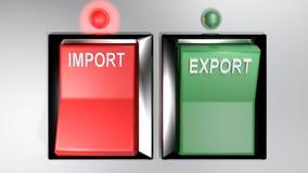 IMPORT - EXPORT kopplar - utvald import - tolkning 3d royaltyfri illustrationer