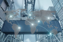 Import, Export, Logistics concept - Map global partner connectio. N of Container Cargo freight ship for Logistic Import Export background (Elements of this image Royalty Free Stock Images