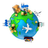 Import and export and manufacturing vector illustration