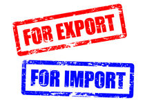 For import and for export stamps Royalty Free Stock Photo