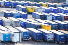Import and export trailers. Import and export lorry trailers / loads wait at the port of Gothenburg, Sweden Royalty Free Stock Photo