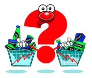Import and export trends with cartoon question mark Royalty Free Stock Photography