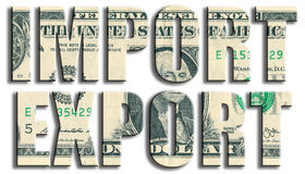 Import and export. US Dollar texture. Royalty Free Stock Photos