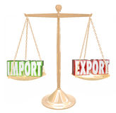 Import Export Words Scale Trade Balance Surplus Deficit. Import and Export 3d words on a scale to show balance in international trade and no surplus or deficit Royalty Free Stock Photo