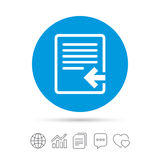 Import file icon. File document symbol. Copy files, chat speech bubble and chart web icons. Vector Royalty Free Stock Photos