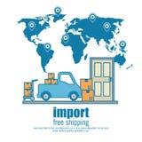 Import free shipping set icons. Vector illustration design stock illustration