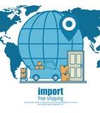 Import free shipping set icons. Vector illustration design royalty free illustration