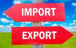 Import oder Export Stockfoto