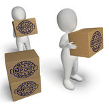 Import Stamp On Boxes Shows Importing Goods And Commodities. Import Stamp On Boxes Showing Importing Goods And Commodities royalty free illustration