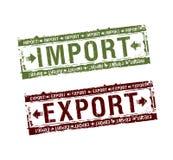Import- und Exportstempel Stockbilder