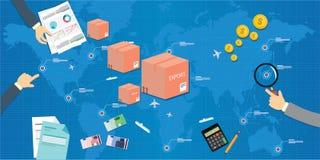 Importação da exportação através do conceito da nação Foto de Stock