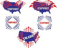 Importação, exportação, comércio, ilustração do Estados Unidos Fotografia de Stock