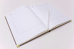The importance of diary. Blank pages diary on a white table,photography Stock Photography