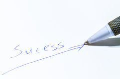The importance of a letter. This word is not successful, less a letter, indicating success must be done carefully Royalty Free Stock Images