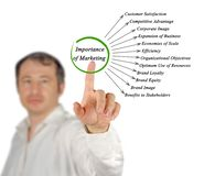 Importance of Marketing. Presenting diagram of Importance of Marketing stock image