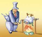 Importance of the peace for the neweconomy. Banker cooks dove to the spit peace Stock Photography