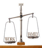 Importance of work versus family time Stock Images