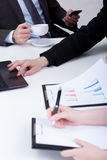 Important analyzing data on business meeting Stock Photo
