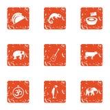 Important animal icons set, grunge style. Important animal icons set. Grunge set of 9 important animal icons for web isolated on white background Vector Illustration