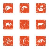 Important animal icons set, grunge style. Important animal icons set. Grunge set of 9 important animal vector icons for web isolated on white background vector illustration