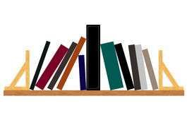 Important book. Untitled books on Book Shelf . Main book at the center remains steady while all the rest of books lean towards it. Image isolated on white Royalty Free Stock Image