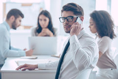 Important business call. stock images