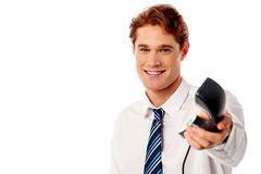 Important business call for you boss! Stock Photo