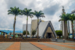 Important city landmark located in the main square. ARMENIA, COLOMBIA - FEBRUARY 25, 2015: Important city landmark located in the main square Plaza Bolivar of stock image