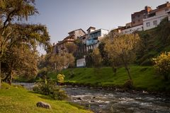 Important city landmark Tomebamba river in Cuenca Royalty Free Stock Image