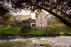 Important city landmark Tomebamba river in Cuenca Royalty Free Stock Images