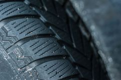 Important components of the car parts. Winter tires on cars for better grip royalty free stock photo