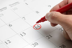 Important date. Red circle marked on a calendar concept for an important day Royalty Free Stock Images