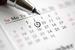 Important date. Circle marked on a calendar concept for an important day or reminder stock image