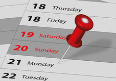 Important date. Calendar and marked the date the pushpin Royalty Free Stock Image