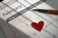 Important date. Shot taken lighting valentines day on the calendar Royalty Free Stock Images