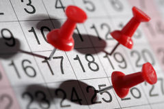 Important date. Or meeting appointment reminder concept thumbtack on calendar Royalty Free Stock Photo