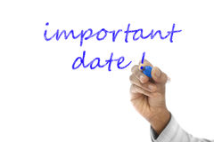 Important Date written on wipe board Royalty Free Stock Images