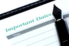 Important Dates. Image of the words important dates in a diary stock photos