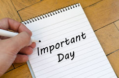 Important day concept on notebook. Important day text concept write on notebook Royalty Free Stock Image