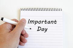 Important day concept on notebook. Important day text concept write on notebook Royalty Free Stock Photography