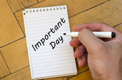 Important day concept on notebook. Important day text concept write on notebook Stock Photo