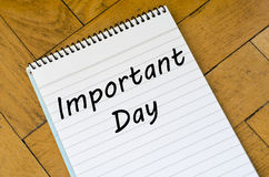 Important day concept on notebook. Important day text concept write on notebook Royalty Free Stock Images