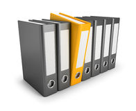 Important folder. Yellow folder released in a number of conventional folders. 3d image. Isolated white background Royalty Free Stock Images