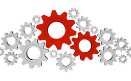 Important Gears. Lots of shiny metal gears with two being the most important; great for teamwork, collaboration and process concepts Royalty Free Stock Image