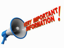 Important information. Text coming out of a megaphone, white background, red text, blue megaphone Stock Images