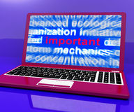 Important Laptop Shows Critical Essential Information Online Royalty Free Stock Photos