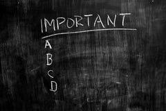 Important list on blackboard Stock Photos