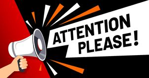 Free Important Message Attention Please Banner. Priority Advice, Paying Attention And Megaphone In Hand Vector Illustration Royalty Free Stock Image - 160965326
