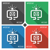 Important message flat vector icon on colorful background. simple PC web icons eps8. Stock Photo